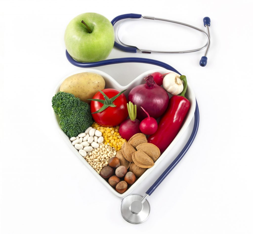 Heart Health with Healthy Foods and Stethoscope